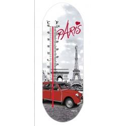 """Thermomètre en verre imprimé """"Paris en 2 CV"""""""