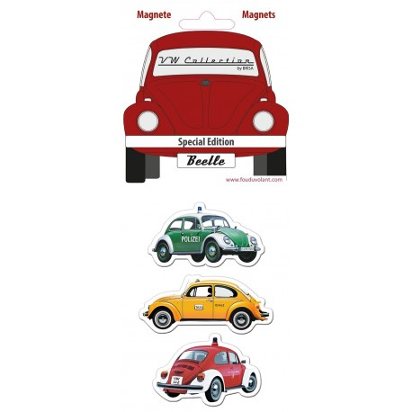 "Set de 3 Magnets Coccinelle Volkswagen thème ""Special Time"""