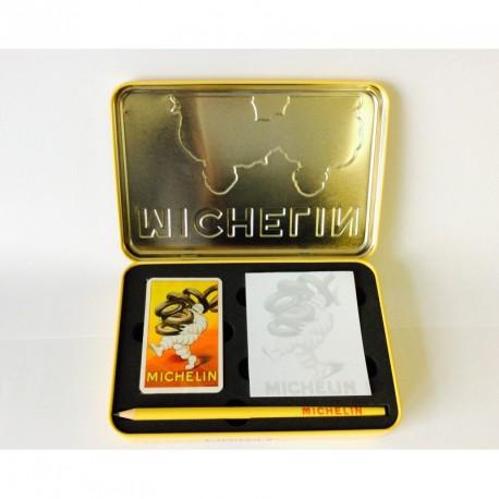 """Coffret métal avec jeu de cartes, bloc note et stylo Michelin """"Bibendum, Nécessaire pour Réparation"""""""
