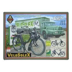 Plaque métal Vélo Solex en tôle imprimée en relief