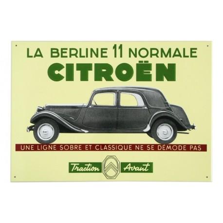 """Plaque métal illustrée Traction Avant Citroën """"La Berline 11 Normale"""" en tôle plate avec reliefs"""