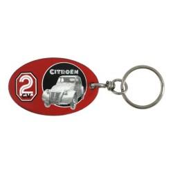 Porte-clef 2 CV Citroën en plaque émaillée rétro