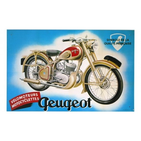 Plaque en tôle peinte avec reliefs Moto Peugeot