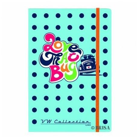 """Cahier Notebook format A5 imprimé Coccinelle VW """"Love That Bug"""""""