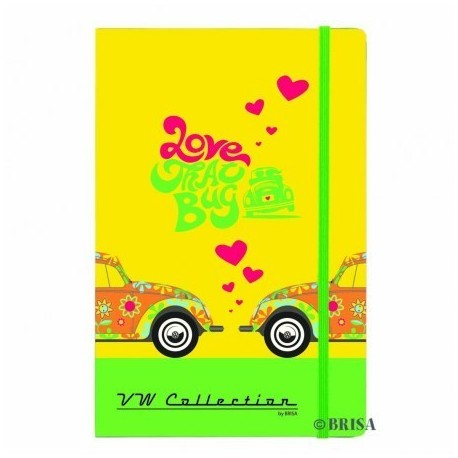 "Cahier Notebook format A5 imprimé jaune Coccinelle VW ""Love That Bug"""