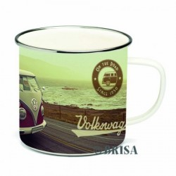 "Tasse Combi VW ""On The Road Since 1950"" en émail beige et rouge"