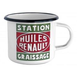 """Mug en métal émaillé Huiles Renault """"Station Graissage"""""""