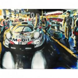 """Toile sur acrylique """"Porsche Aux Stands"""" 003 format 116x89 cm par Dominique Léonard"""
