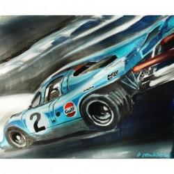 """Toile sur acrylique """"Porsche N°2 en pleine course"""" 005 format 61x50 cm par Dominique Léonard"""