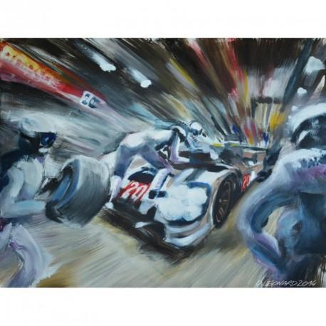 """Toile sur acrylique """"Porsche Aux Stands"""" 007 format 116x89 cm par Dominique Léonard"""