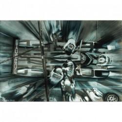 """Tableau """"Porsche Aux Stands"""" 002 en crayon et gouache sur demi-teinte format 80x60 cm par Dominique Léonard"""