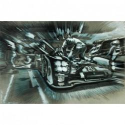 """Tableau """"Porsche Aux Stands"""" 001 en crayon et gouache sur demi-teinte format 80x60 cm par Dominique Léonard"""