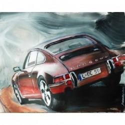"""Toile sur acrylique """"Porsche 911"""" format 81x65 cm par Dominique Léonard"""