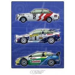 """Peinture numérique sur dessin """"Ford Rallycars"""" format 60 x 45 cm"""