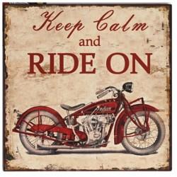 Plaque décorative Moto Indian en fer peint style Vintage