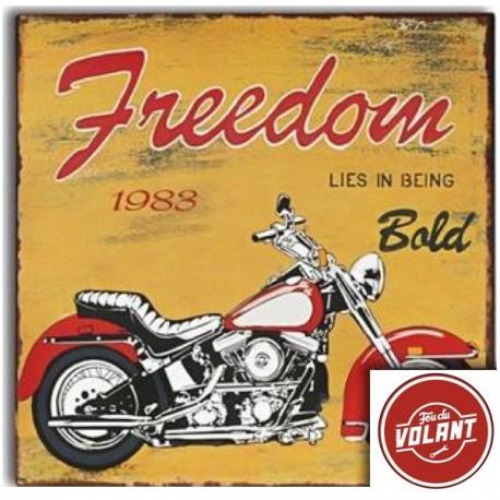 Plaque décorative Moto Freedom en fer peint style Vintage