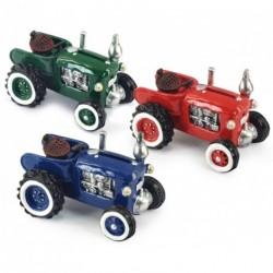 Tirelire tracteur en résine peinte unie - 3 coloris au choix