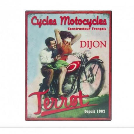 """Plaque décorative """"Motocycles Terrot depuis 1902"""", format 28 x 22 cm"""