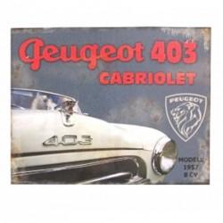 Plaque décorative Peugeot 403 Cabriolet 1957, format 28 cm x 22 cm