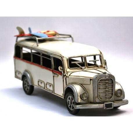 Bus Mercedes  blanc cassé en fer peint