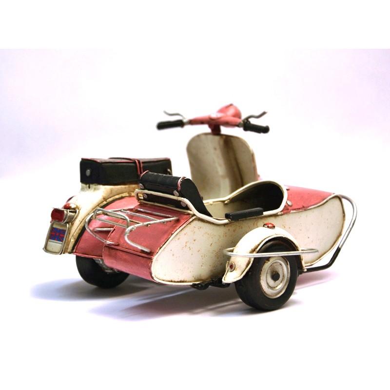 side car vespa rose en fer peint boutique fou du volant. Black Bedroom Furniture Sets. Home Design Ideas