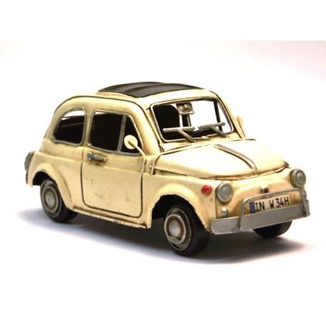 Fiat 500 blanc cassé petit format en fer peint