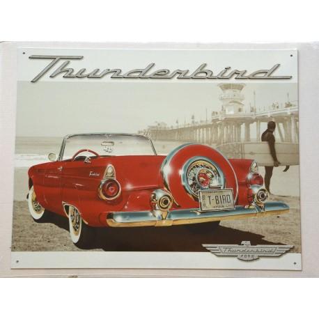 Plaque murale Ford  Thunderbird décapotable rouge et beige