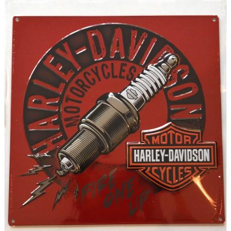 Plaque murale Harley Davidson à reliefs en fer peint rouge