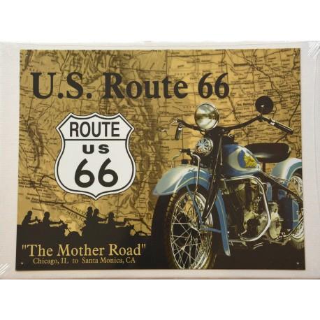 affiches anciennes ou pubs indian Plaque-murale-illustree-route-66-the-mother-road-en-indian