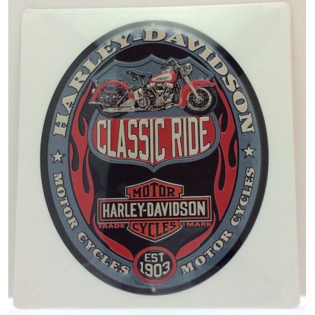Plaque murale Harley Davidson ovale en tôle embossée marine
