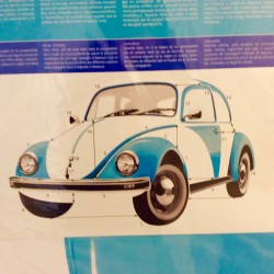 Sticker Géant imprimé et découpé en forme de Coccinelle Volkswagen Bleu ciel