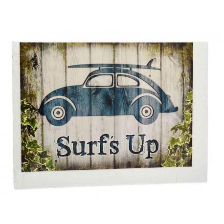 """Plaque murale illustrée Coccinelle VW """"Surf Up"""" en tôle plate bleu"""