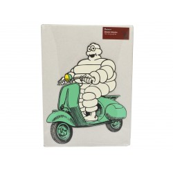 Plaque Bibendum Michelin en Scooter en tôle découpée