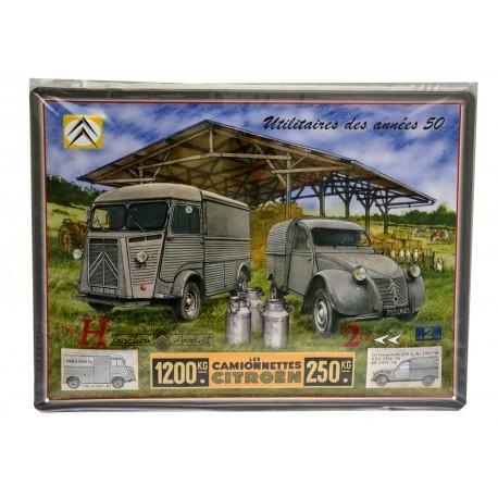 Plaque murale illustrée Citroën Type H à la ferme, en tôle embossée