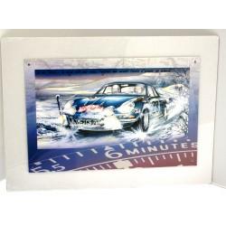Plaque murale illustrée Alpine Renault en tôle sérigraphiée