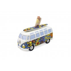Tirelire Combi VW en porcelaine  Surf Flower power