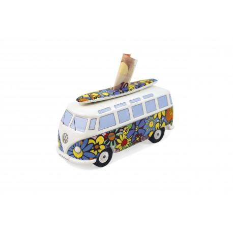 Tirelire Combi VW en porcelaine  Surf Flower power