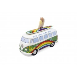 Tirelire Combi VW en porcelaine  Surf Arc en ciel