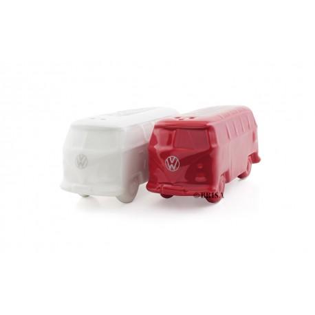 Duo de salière et poivrière COmbi VW en céramique rouge et blanc
