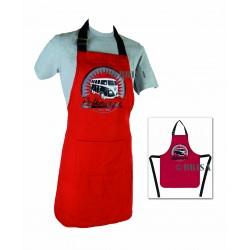 Tablier de cuisine  Combi 100 % coton  noir et rouge