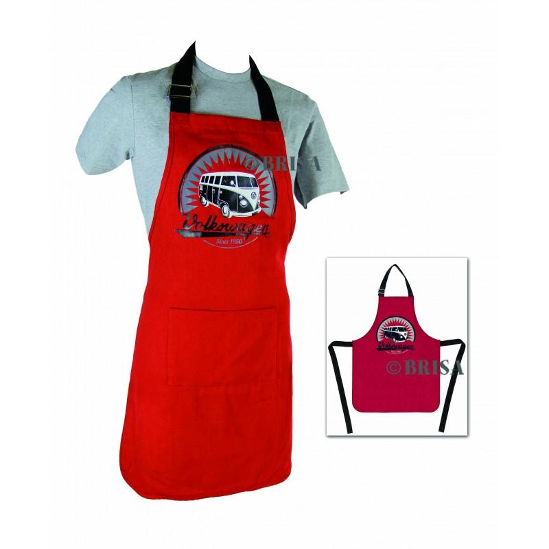 Tablier de cuisine combi 100 coton noir et rouge - Tablier noir de cuisine ...
