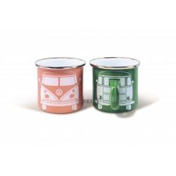 Duo de 2 tasses Combi VW en émail  vert et rose