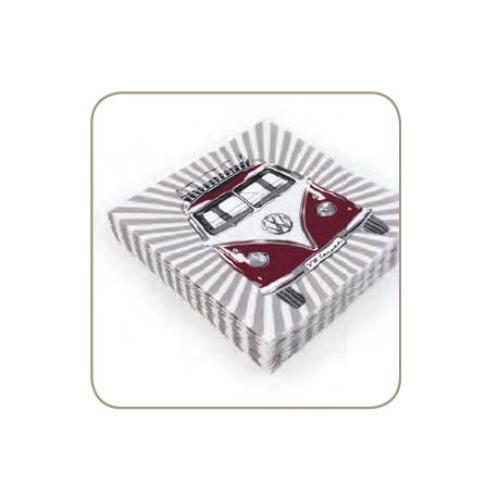 Pack de 20 serviettes de table Combi VW en papier rouge
