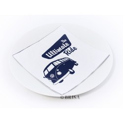 Pack de 20 serviettes de table Combi VW en papier marine et blanc