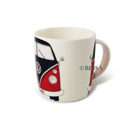 Mug Combi VW rouge et noir  imprimé Avant-Arrière sur porcelaine blanche