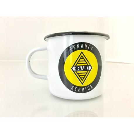 Mug Renault Service  en émail blanc sur logo jaune et noir