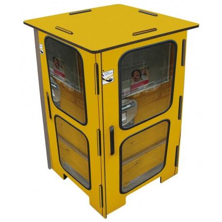 Tabouret design jaune imprimé Cabine téléphonique