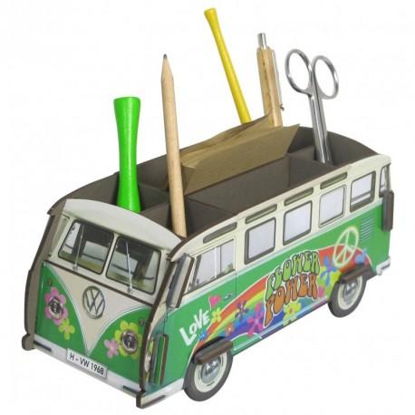 Porte-stylos Combi Volkswagen Hippie flowerpower vert et blanc
