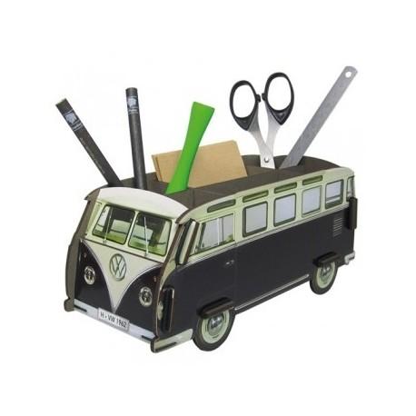 Porte-stylos original et écolo Combi Volkswagen noir et blanc