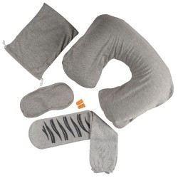 Kit De Voyage Homme 3 En 1, avec appuie-tête, paire de chaussettes et masque anti lumière
